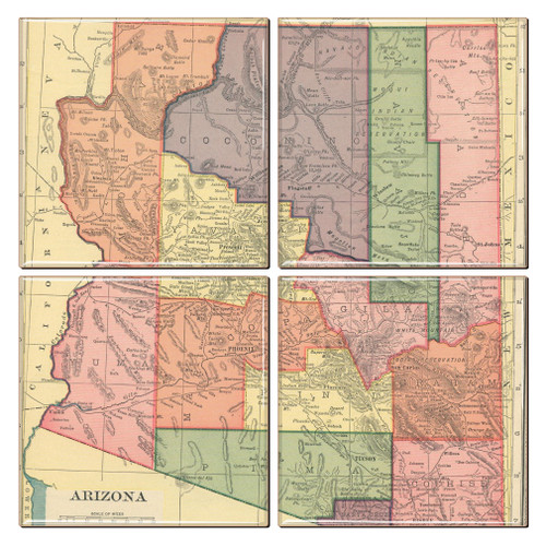 Arizona Map Coaster Set of 4