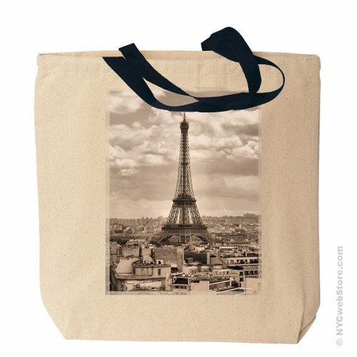 Eiffel Tower Tote Bag, Sepia
