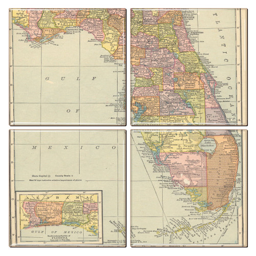 Florida Map Coaster Set Of 4