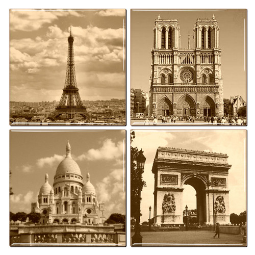 Ceramic Paris coasters featuring the Eiffel Tower, Notre Dame, Sacre-Coeur and the Arc de Triomphe