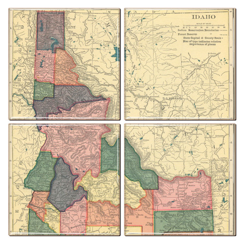 Idaho Map Coaster Set of 4
