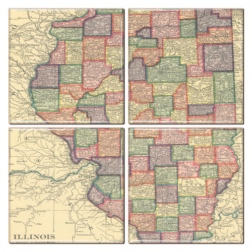 Illinois Map Coaster Set of 4