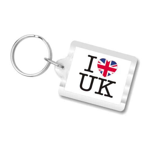 I Love U.K. Plastic Key Chains, I heart UK, United Kingdom