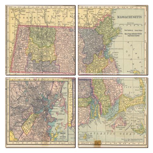 Massachusetts Map Coaster Set of 4