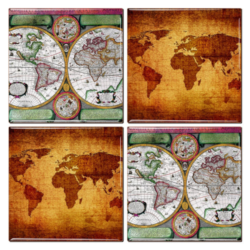 Antique Map Coaster - Antique world map picture