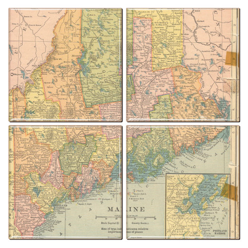Maine Map Coaster Set of 4