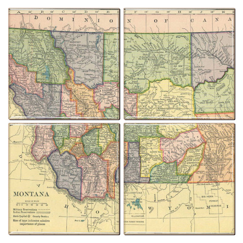 Montana Map Coaster Set of 4