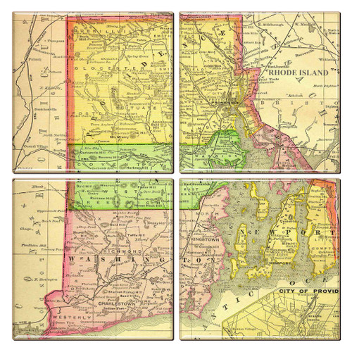 Rhode Island Map Coaster Set of 4