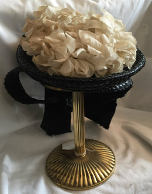 Vintage Black Straw Hat with White Flowers