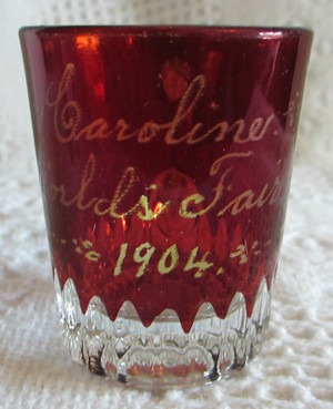 1904 St. Louis World's Fair Ruby Glass Small Cup