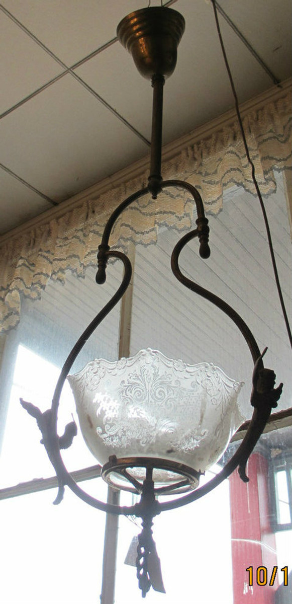 Brass Carbide Gas Light Chandelier