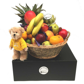 Get Well Basket with Message Bear