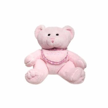 Oliver Baby Teddy Bear w/bib Pink - Baby Girl Gift
