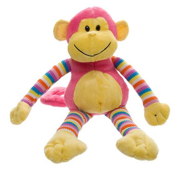 Australian Milo Monkey Bright Striped Hot Pink Soft Toy