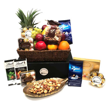 Gourmet Chocolate Fruit Basket + Premium Mixed Nuts