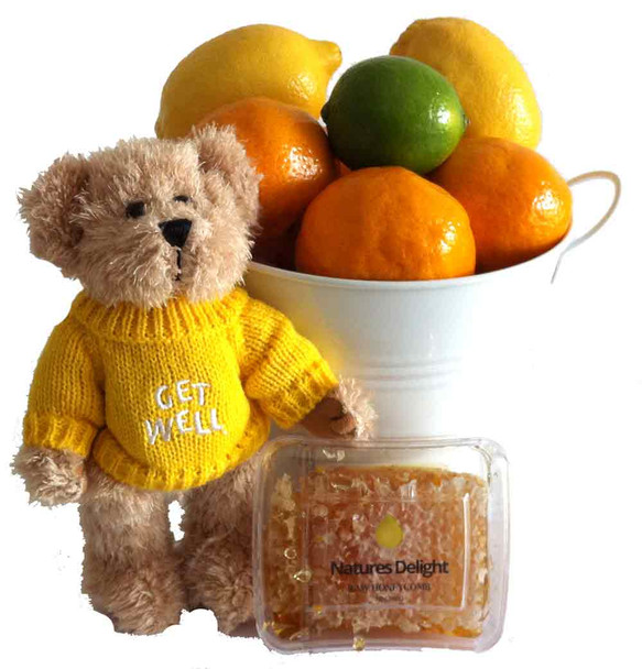 Get Well Gift Gift + Honey + Citrus Fruits + Message Bear