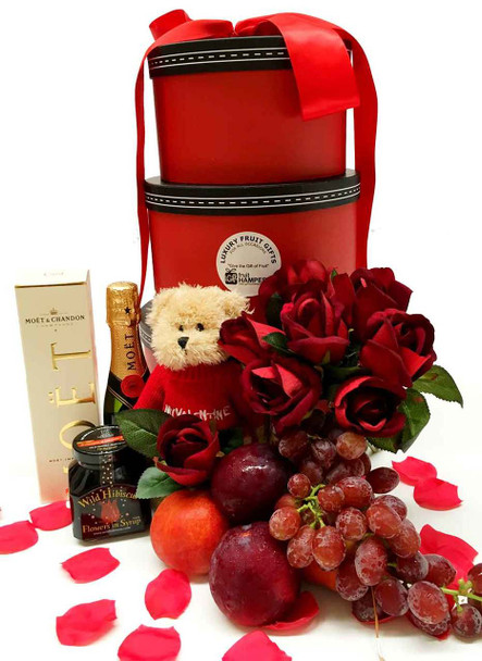Luxury Gift Hamper - Round Tower Moet Gift with Silk Red Roses only $169