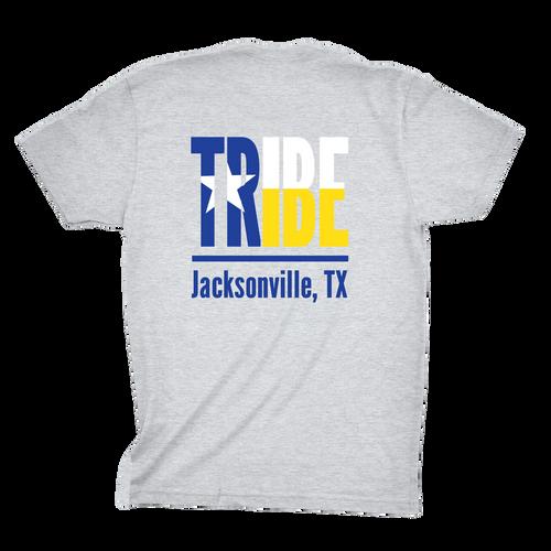 Jacksonville Texas Tribe Shirt screen printed on a sport gray shirt back print