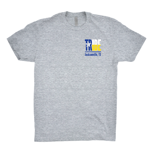 Tribe shirt for Jacksonville Texas Indians. Screen printed with 3 colors blue, gold and white on a gray t-shirt