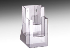 "Two tier brochure holder for displaying 4"" x 9"" brochures  on tabletops at retail stores and offices."