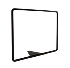 Metal retail grocery sign holder with wedge base and attractive black powder coat finish.  Sign holder accommodates a 14 x 11 sized graphic.