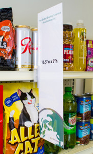 """Display highly-visible 16- 1/2""""w x 5""""h  graphics using this clear sign sleeve.  Attach to shelf channels using our sign grippers."""