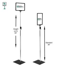 "Pedestal Sign Display - 11""w x 7""h - Adjustable Height 36""-60"""