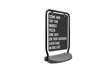 "The Swing Outdoor Sign Holder, with Wheeled Water Base - 22""W X 28""H"