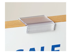 Sign gripper for displaying pricing on glass tables and shelves