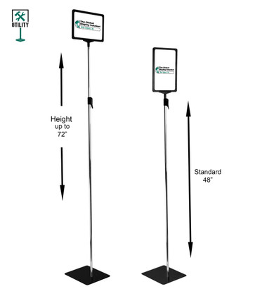 11 in.  x 7 in. pedestal sign holder with adjustable height for displaying signs in retail and facilities.