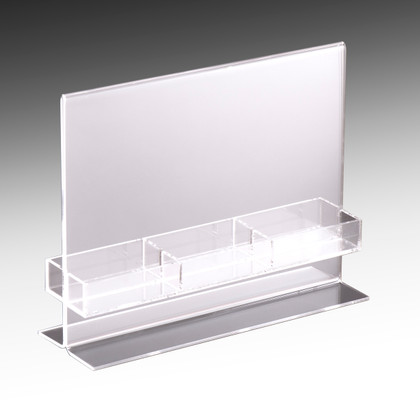 Acrylic Sign Holder with (3) Gift card holder compartments on each side