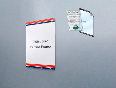 Reusable sign frame  with American flag design on border.