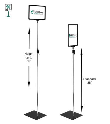 "Pedestal Sign Display - 11""w x 8.5""h - Adjustable Height 36""-60"""
