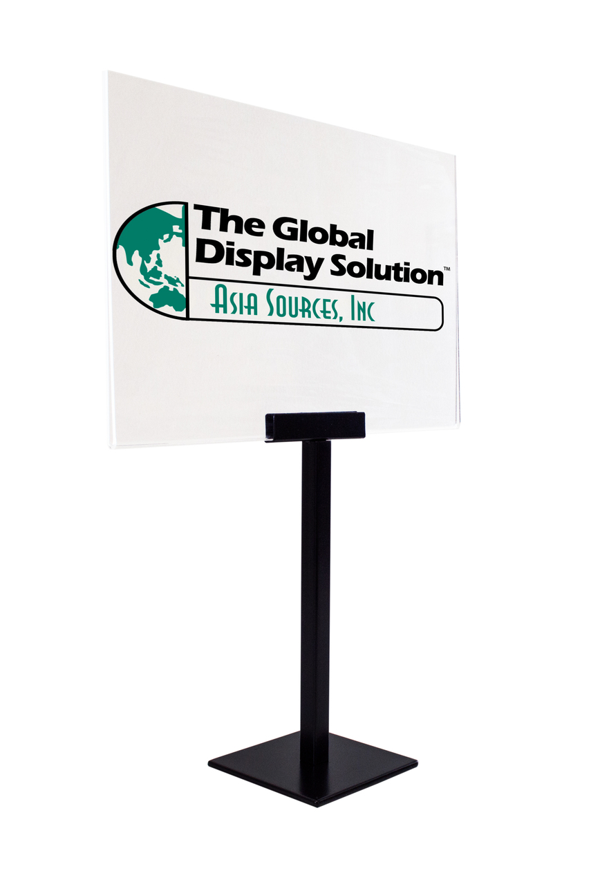 Pedestal Metal Sign Holder W Acrylic Graphic Display The Global - Table top sign holders