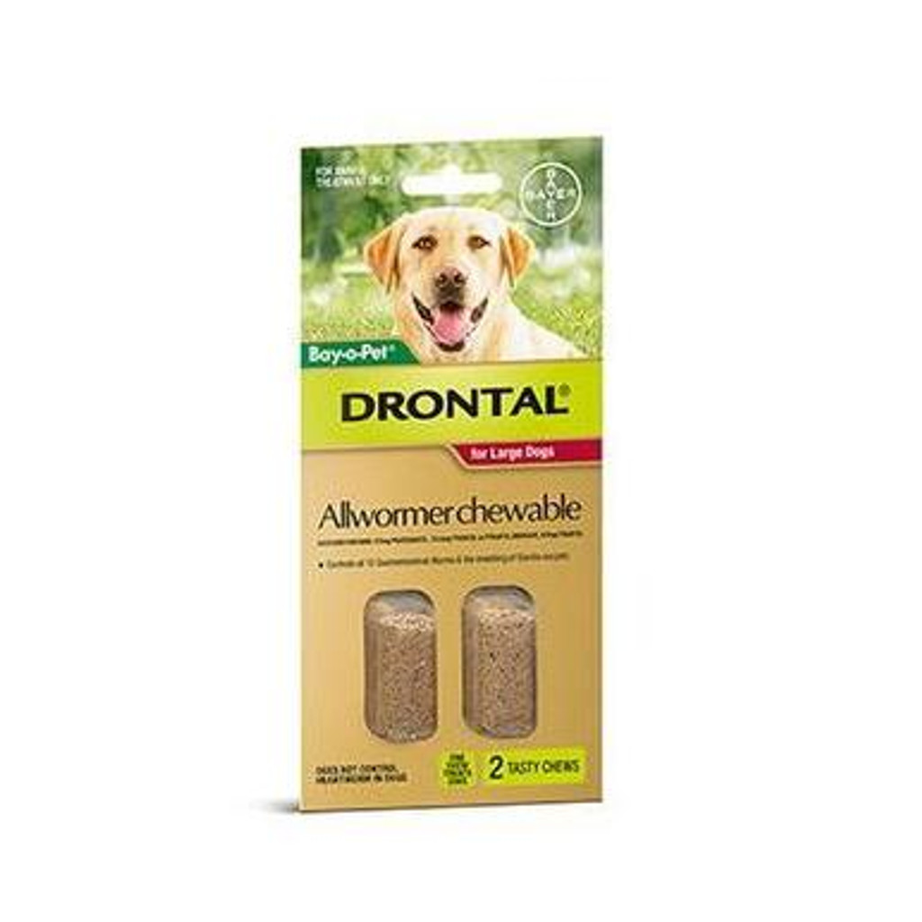 Drontal Allwormer Chews for Dogs up to 77 lbs - 2 Pack