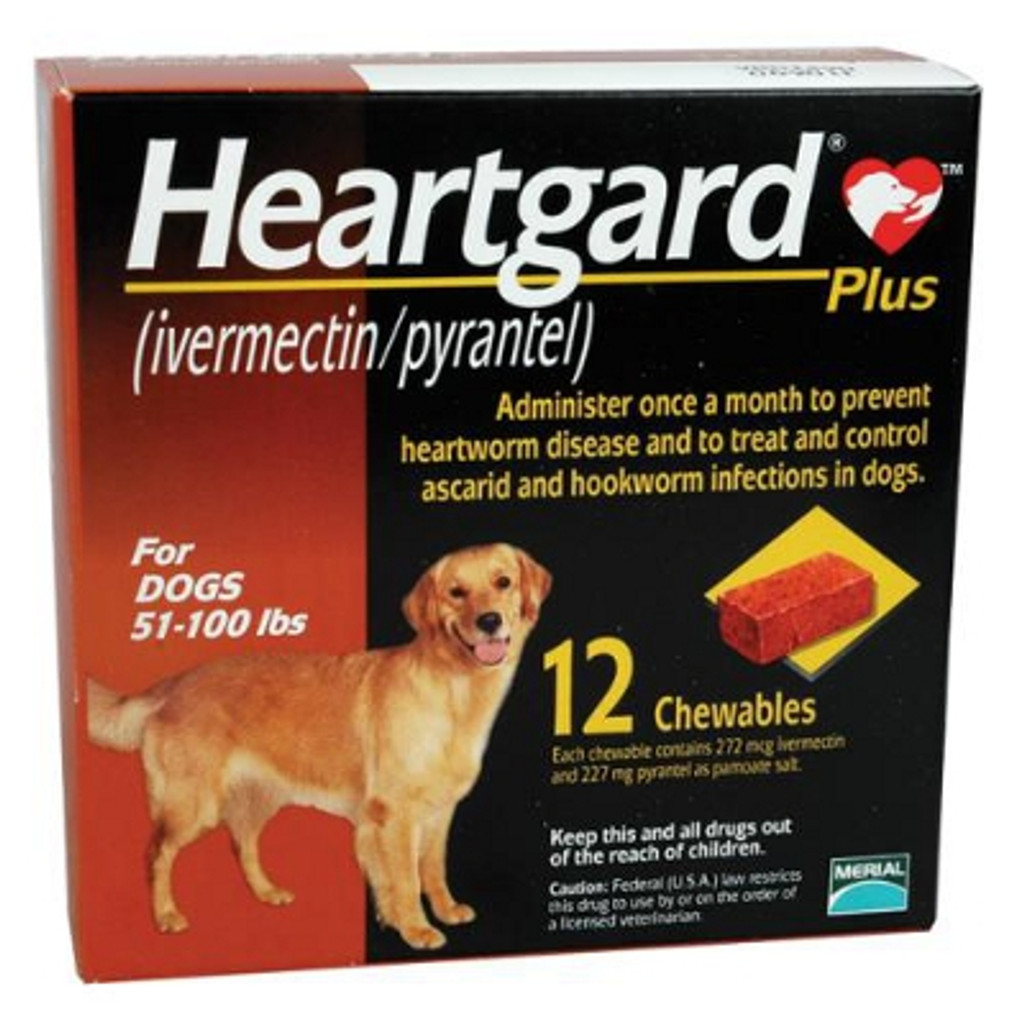 Heartgard Plus Chewables for Dogs 51-100 lbs - Brown 12 Pack