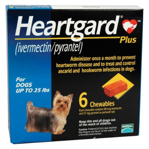 Heartgard Plus Chewables for Dogs up to 25 lbs - Blue 6 Pack