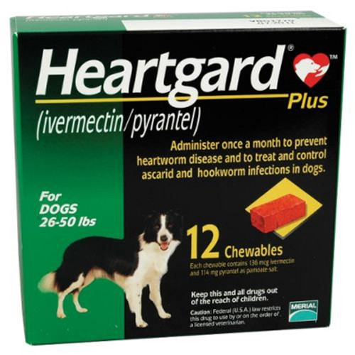 Heartgard Plus Chewables for Dogs 26-50 lbs - Green 12 Pack