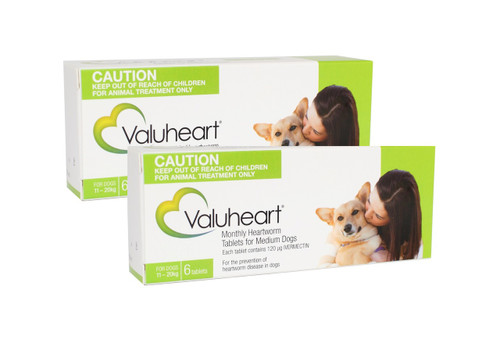 Valuheart Monthly Heartworm Tablets for Medium Dogs 23-44 lbs - Green 12 Pack