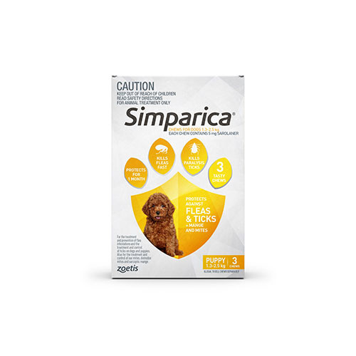 Simparica For Small Dogs & Puppies 3-6lbs (1.3-2.5kg) - 3 Chews