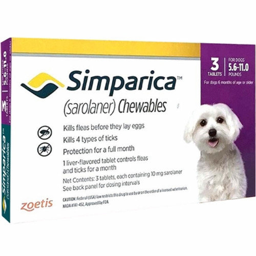 Simparica For Small Dogs & Puppies 5.5-11lbs (2.6-5kg) - 3 Chews