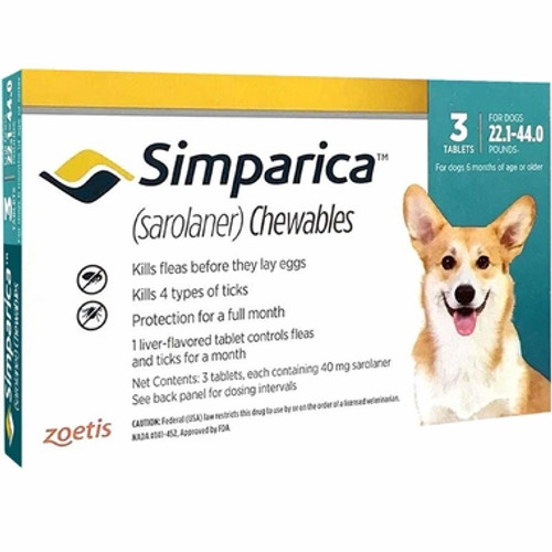 Simparica For Medium Dogs 22-44lbs (10.1-20kg) - 3 Chews