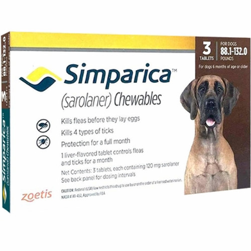 Simparica For Extra Large Dogs 88-132lbs (40.1- 60kg) - 3 Chews