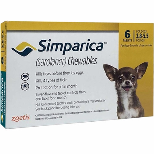 Simparica For Small Dogs & Puppies 2.8-5.5lbs (1.3-2.5kg) - 6 Chews
