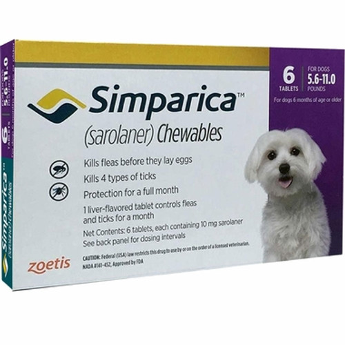 Simparica For Small Dogs & Puppies 5.5-11lbs (2.6-5kg) - 6 Chews
