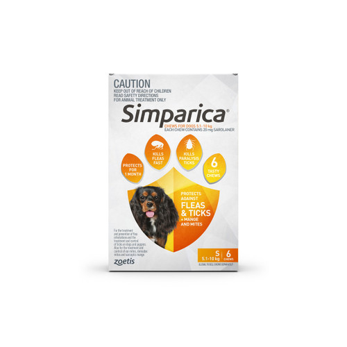 Simparica For Small Dogs 11-22lbs (5.1-10kg) - 6 Chews