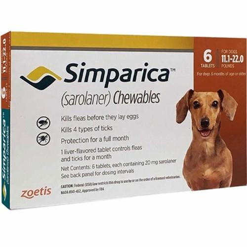Simparica For Small Dogs 11-22lbs (5.1-10kg) - 6 Chews