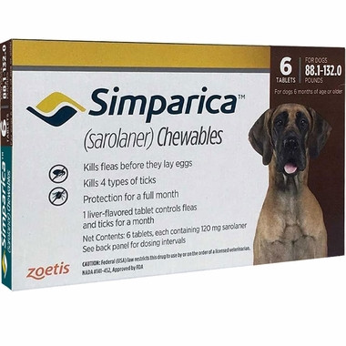 Simparica For Extra Large Dogs 88 132lbs 401 60kg 6 Chews