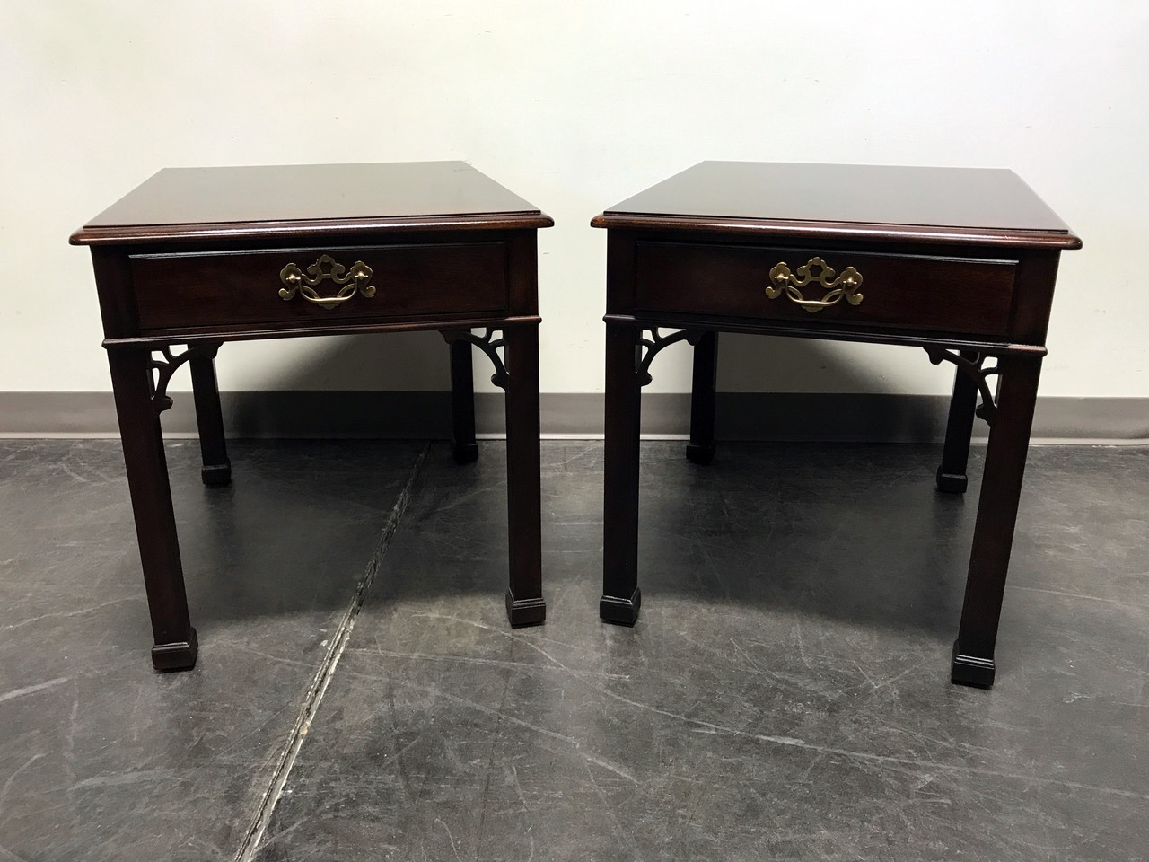 SOLD OUT   HENREDON Banded Mahogany Chinese Chippendale Style End Side  Tables   Pair