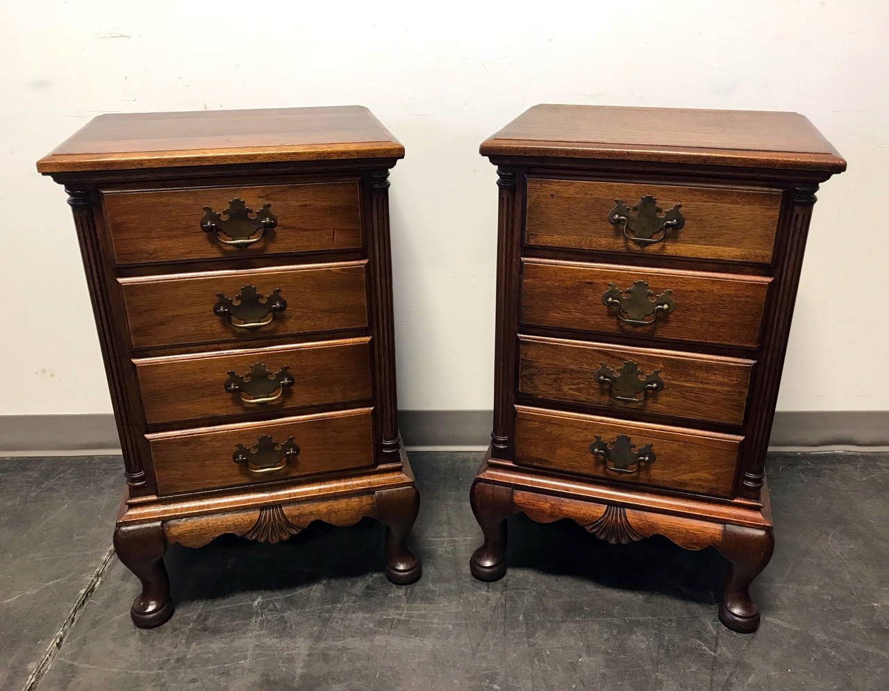 SOLD OUT Solid Mahogany Queen Anne Style Nightstands by